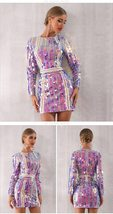 Sexy Violet Long Sleeve Sequined Mini Luxury Club Dress image 3