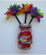 3 Flower Pens Mason Jar Sequins Rainbow Gift Set Handmade Home Office Te... - £8.98 GBP