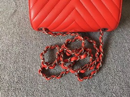 AUTHENTIC CHANEL RED CHEVRON QUILTED CAVIAR SQUARE MINI CLASSIC FLAP BAG SHW image 7