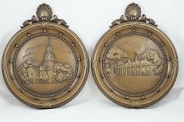 Vtg Homco Plaques Independence Hall & Mount Vernon 3D Relief Circle Brow... - $12.13