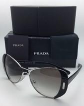 New PRADA Sunglasses SPR 60S 1AB-0A7 55-16 Silver & Black Frame w/ Grey Gradient