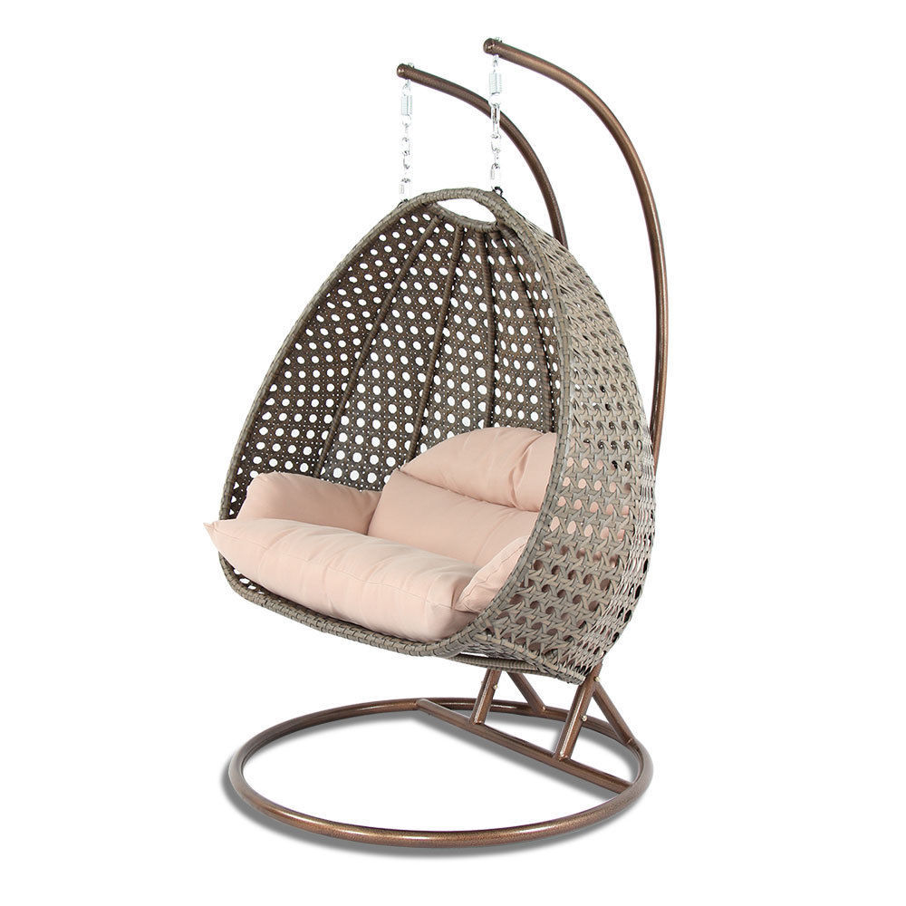 2 Person Outdoor Strong Rattan Hanging Wicker Swing Chair