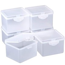6 Pack Clear Plastic Beads Storage Containers Box with Hinged Lid for Beads and