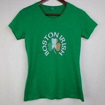 Boston Irish Womens Tshirt S Green Graphic Tee Shirt St Patricks Day Sho... - $14.99