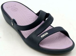 Crocs Patricia Wedge Dark Blue Sandals Women's Sz 10 M - $28.49
