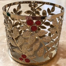 Bath & Body Works Silver & Red Berry Glitter Leaf Candle Holder - $24.99