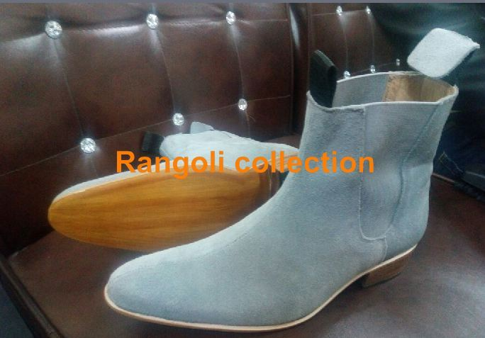 a77d7463ea1b Handmade Men Gray color Chelsea boots Men pointed toe Chelsea boots