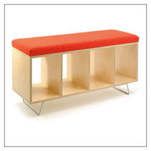 Offi Birch Bench Box w/ Gray or Red Wool Upholstered Pad & Legs or Casters - $899.00+