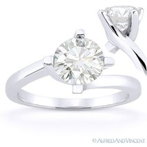 Round Brilliant Cut Moissanite 14k White Gold Bypass Solitaire Engagemen... - £252.58 GBP+