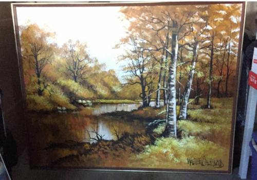 "Large 61""x 49"" Original Walter Sherwood Landscape Oil Painting Signed Artist Art"