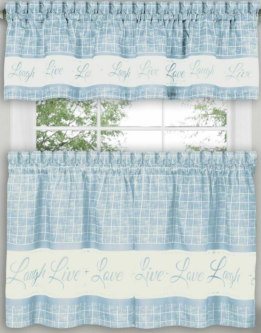 "Primary image for 3 pc Curtains Set: 2 Tiers & Valance (58""x14"") LIVE LAUGH LOVE,light blue, Achim"