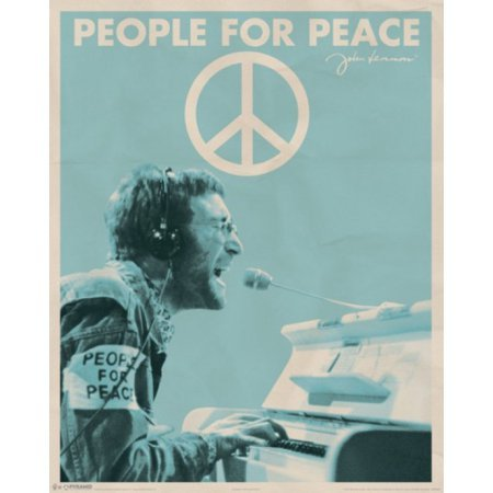JOHN LENNON POSTER 20x16 INCHES PEOPLE FOR PEACE SIGN THE BEATLES