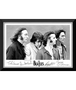 The Beatles Black & White Portrait Framed Canvas - Facsimile Autographs - $380.00