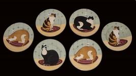 6 Warren Kimble Folk Cat Collection Salad Plates 4 Designs 2 Duplicate Nwot Disc - $46.99