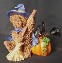 Halloween Ceramic Teddy Bear Witch Black Cat Bat Pumkin Beautiful Small ... - $9.89