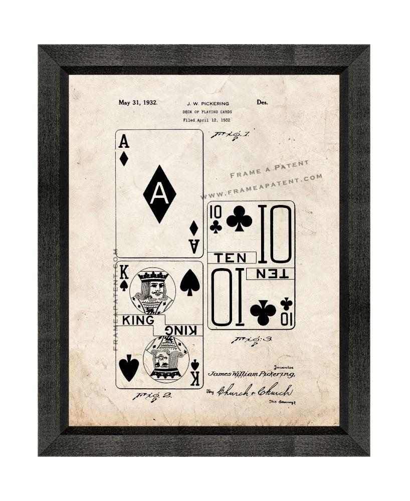 Primary image for Deck Of Playing Cards Patent Print Old Look with Beveled Wood Frame