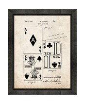 Deck Of Playing Cards Patent Print Old Look with Beveled Wood Frame - $24.95+