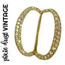 Vintage Scarf Ring Costume Aurora 1950s 50s Brass Imitation Gold Rainbow... - $22.98