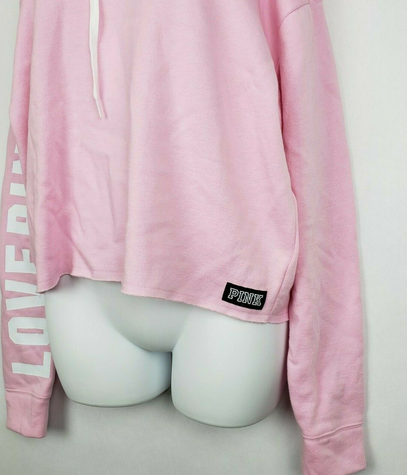 VICTORIA'S SECRET PINK PULLOVER HOODIE LOGO COLD SHOULDER CROPPED SIZE XS NWT