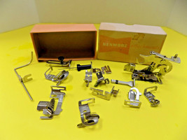 Kenmore Greist Sewing Machine Attachments Hemmer Ruffler Binder 14 Pcs Vtg Usa - $21.85