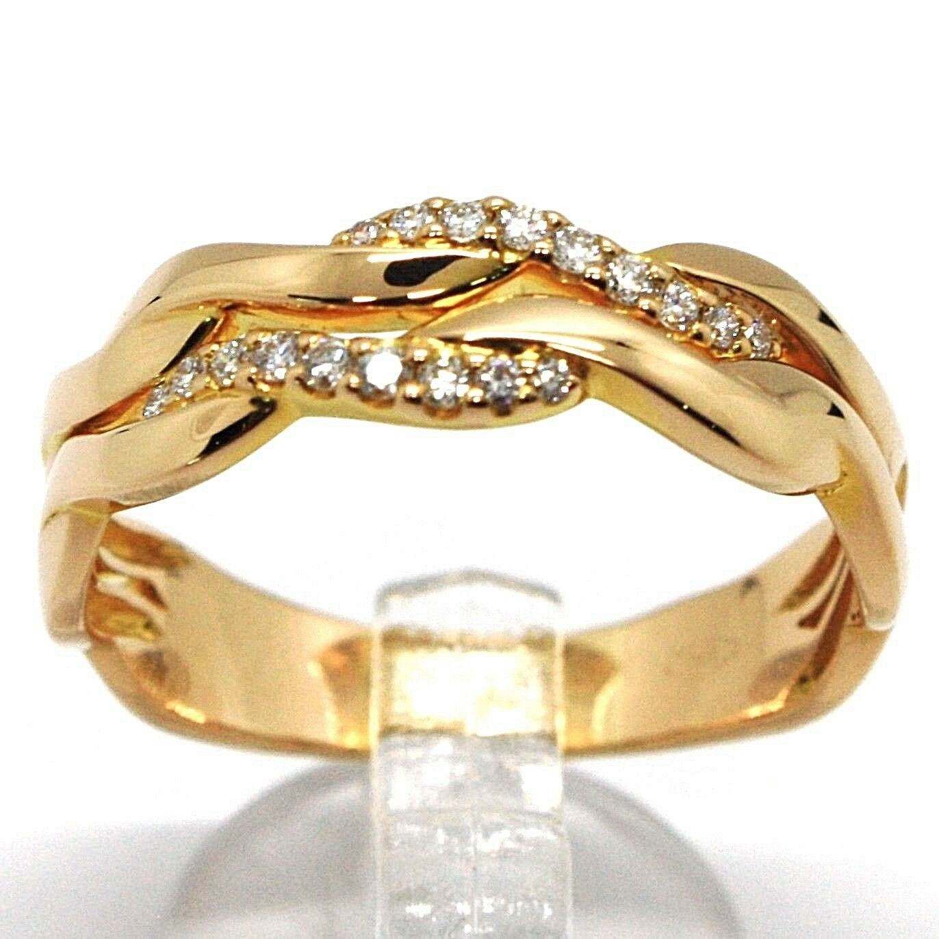 SOLID 18K ROSE GOLD BAND RING, DIAMONDS CT 0.16, WAVE, ONDULATE, BRAID