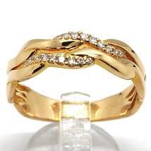 SOLID 18K ROSE GOLD BAND RING, DIAMONDS CT 0.16, WAVE, ONDULATE, BRAID image 1