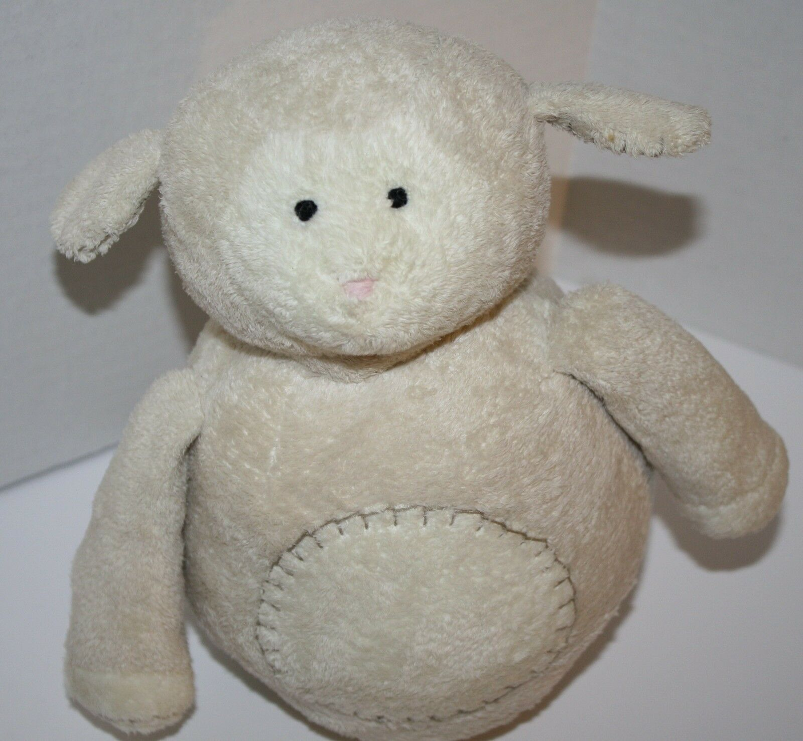 "Primary image for Pottery Barn Kids LAMB Wobbles 10"" Chime Ball Cream Plush Ivory Stitched Tummy"