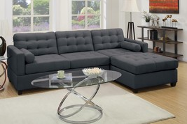 Poundex F7587 2-PC Slate Black Polyfiber Reversible Chaise Sectional