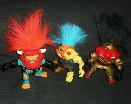 3 Vintage 1992 Hasbro Bataille les Trolls Figurines Sire Chevalier Cyborg - $21.88