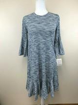 NWT Lularoe XS Blue White Gray Watercolor Stripe Maurine Dress Bell Sleeve  - $24.99