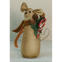 """farmhouse primitive country rustic fabric Christmas Candy Cane MOUSE 5"""" ... - $31.99"""