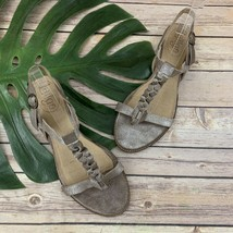 Latigo Anthropologie Dreamy Flat Sandals Size 10 Silver Gray Leather T S... - $31.67