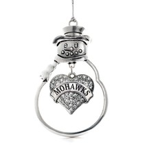 Inspired Silver Mohawks Pave Heart Snowman Holiday Decoration Christmas ... - $14.69