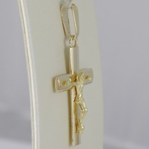 SOLID 18K YELLOW GOLD CROSS JESUS WORKED, SQUARED STYLIZED SMOOTH, MADE IN ITALY image 2