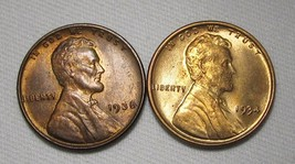 1934-P & 1938-P Lincoln Wheat Cents (2 Coins) Lot AE978 - $24.12