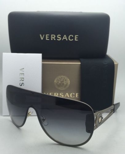 80edc64fcef 12. 12. Previous. New VERSACE Sunglasses VE 2166 1252 8G 140 Gold   Black  Shield Frame w  · New VERSACE Sunglasses ...