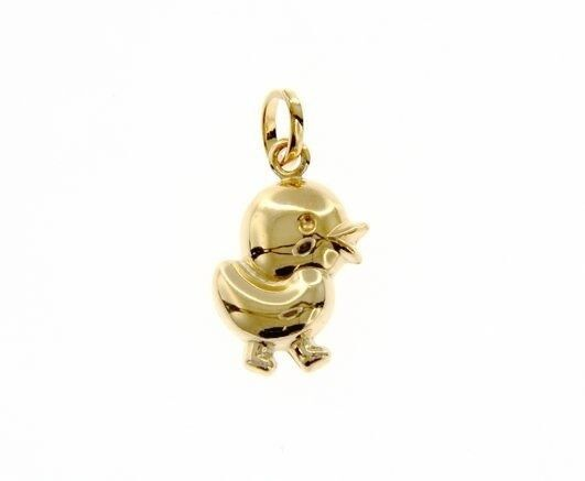 18K YELLOW GOLD ROUNDED CHICK POULT PENDANT CHARM 22 MM SMOOTH MADE IN ITALY