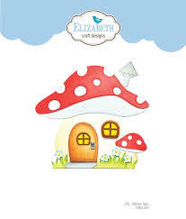 Mushroom House Folding Card Die Set. Elizabeth Craft Designs