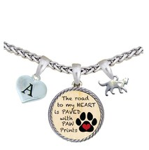 Custom Heart Cat Road to My Heart Paw Print Silver Necklace Jewelry Initial - $17.09