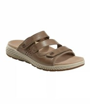 Earth Loures Slide Sandals Size 9W 9 Wide Taupe Leather Brown Gray Grey - $67.68