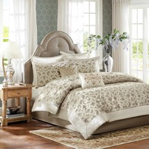 Luxury 8pc Ivory & Taupe Ironwork Design Comforter Set AND Decorative Pillows - $199.49+