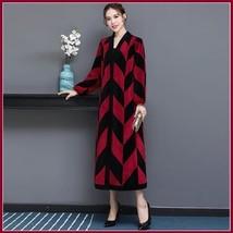 Luxury Long Red And Black V Neck Chevron Design Lamb Shearling Sheepskin Coat image 2