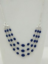 Blue and Silver Tone 3 - Layer Necklace w/ side Flower - AVON - $8.86