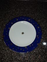 Galaxy Blue by Sakura Rimmed Salad Plate 14K Gold Stars  - $8.00