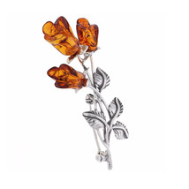 Brooch Silver and Baltic Amber Roses - $62.00