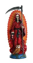 Santa Muerte Saint of Holy Death Standing Religious Statue 7.25 Inch (Red) Love  - $22.83