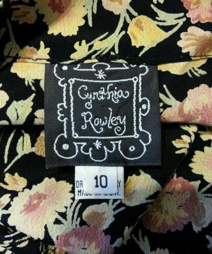 Vintage 27.4ms Cynthia Rowley Stampa Floreale Rayon Grunge Festival Abito 10