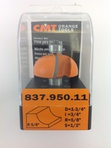 "CMT 837.950.11 Cove Router Bit, 1/2"" Shank, 5/8"" Radius,  Made in Italy - $34.20"
