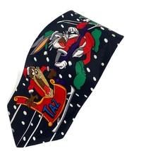 Looney Tunes Mania Christmas Taz Santa Sleigh Bugs Daffy Tweety Tie Necktie - $15.52