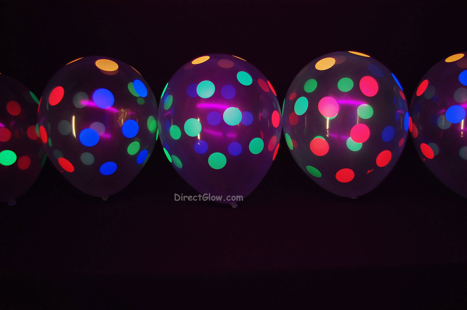50 Pack Clear Latex 11 inch UV Blacklight Reactive Neon Polka Dot Balloons